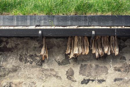 Dried cod outside a house in the Faroe Islands