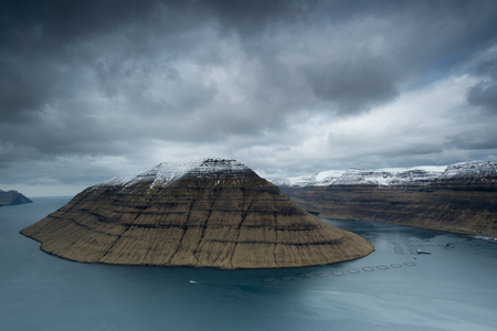 Landscape of Kunoy, view from Klaksvik, Faroe Islands
