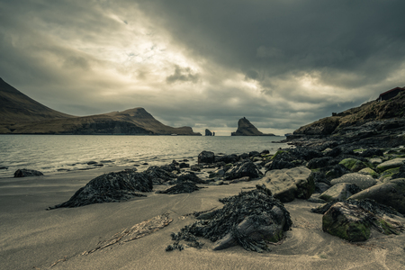 Landscape of Faroe Islands, view from Bour, Vagar Stok Fotoğraf - 123543400