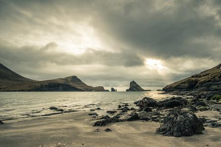 Landscape of Faroe Islands, view from Bour, Vagar Stok Fotoğraf - 123543401