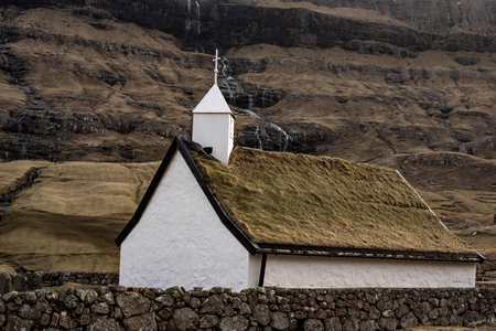 Small village church in Saxony located on the island of Streymoy, Faroe Islands