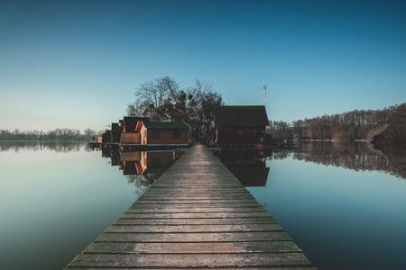 Dawn landscape at the lake, Hungary, Tata, Flood Lake