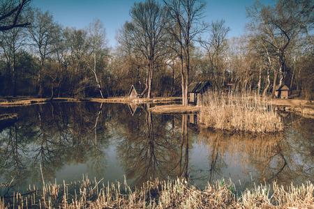Landscape at the lake, Hungary, Sz?dliget - fishing lake Stok Fotoğraf