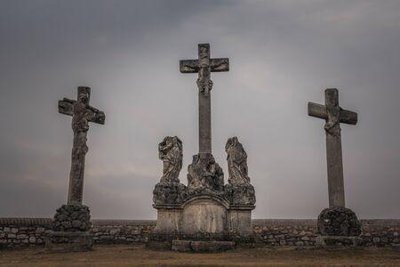 Crosses on the Calvary Hill in Tata, Hungary Archivio Fotografico