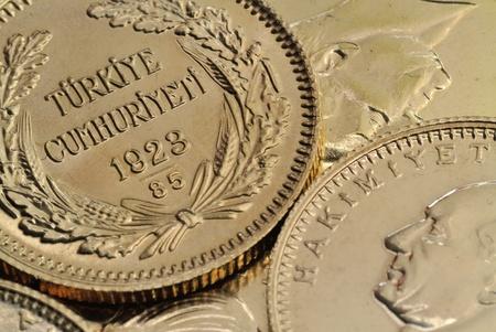 Turkish Gold Coins Close Up Stock Photo