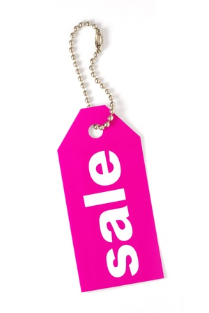 pink sale tag isolated Stock Photo