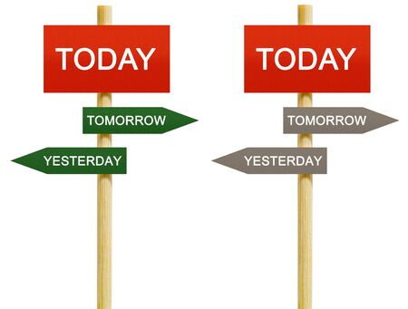 Today Tomorrow Yesterday imitation signpost on time concept isolated Stock Photo