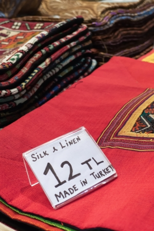 Textile souvenirs in grand bazaar in Istanbul Turkey