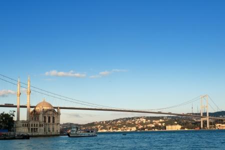 Bosphorus Bridge and Ortakoy Mosque in Istanbul Turkey Stock Photo