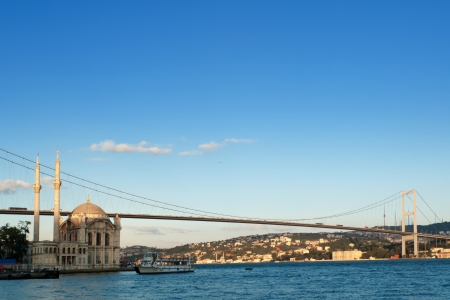 Bosphorus Bridge and Ortakoy Mosque in Istanbul Turkey Stock Photo