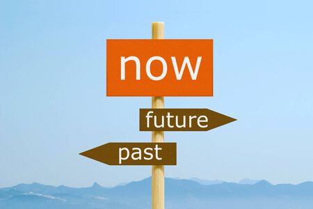 expectations: Now Past Future Imitation Signpost Stock Photo