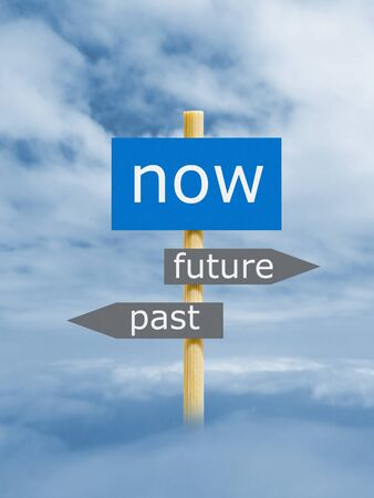 imitation: Now Past Future Imitation Signpost Stock Photo