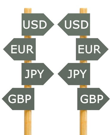Major currencies direction signpost isolated Stock Photo