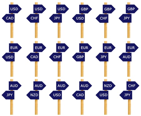traded: Imitation signpost of eighteen most traded currency pairs in the World Stock Photo
