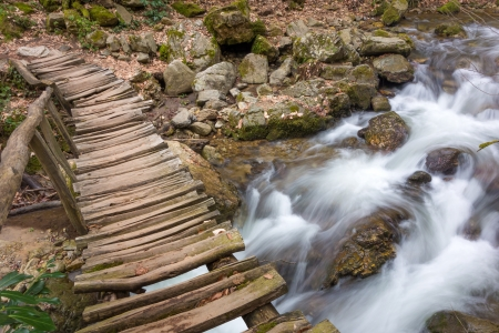 Water flowing in nature. Long exposed to get motion blur. Stock Photo