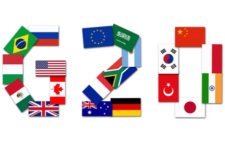 Flags of the Worlds Leading 20 Economies Stock Photo