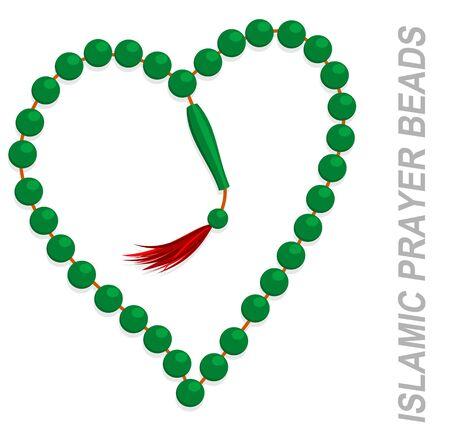Illustration of heart shaped islamic prayer beads Illustration
