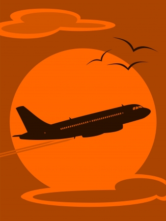 Illustration of an Aircraft Silhouette at Sunset