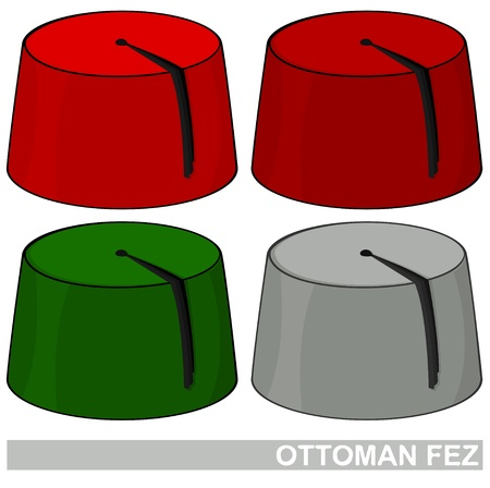 Illustration of Ottoman Fez in four different colors Illustration