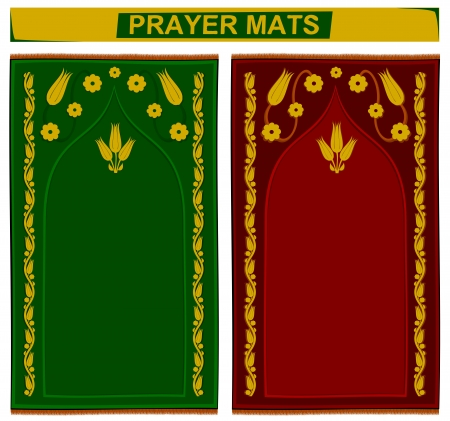 Illustration of islamic prayer mats in 2 different colors Illustration