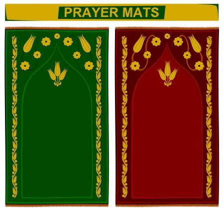muslim prayer: Illustration of islamic prayer mats in 2 different colors Illustration