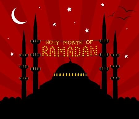 Illustration of a mosque with a text celebrating the islamic holy month Ramadan