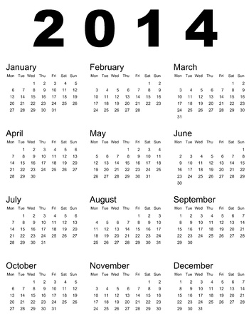 illustration of 2014 calendar Illustration