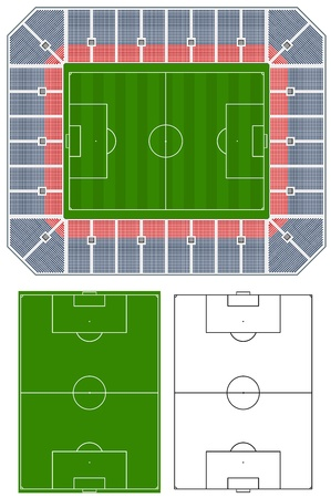 grandstand: Soccer stadium illustration with stands and extra pitches