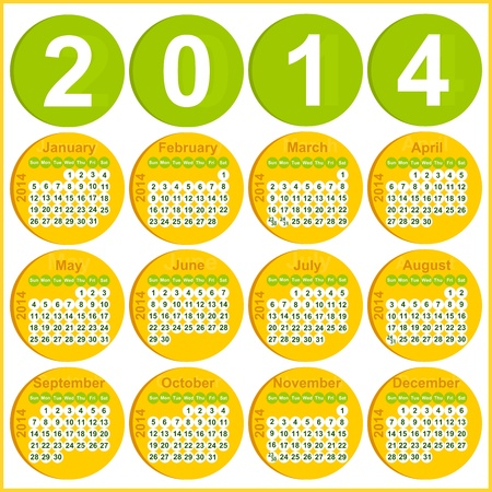 Vector illustration of 2014 Calendar in English Sunday to Monday Vector