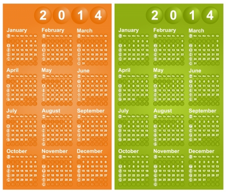 yearly: Ilustraci�n vectorial de 2.014 calendarios de las dos versiones de color diferentes de domingo a s�bado Vectores