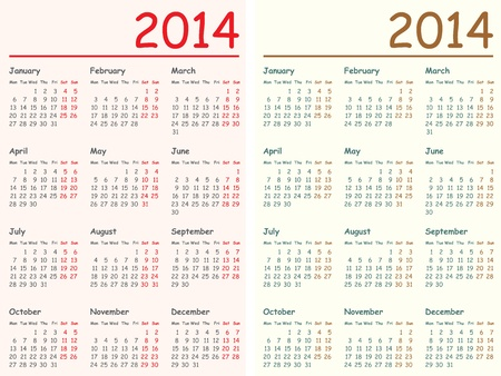 Vector illustration of 2014 calendars. English, Monday to Sunday.