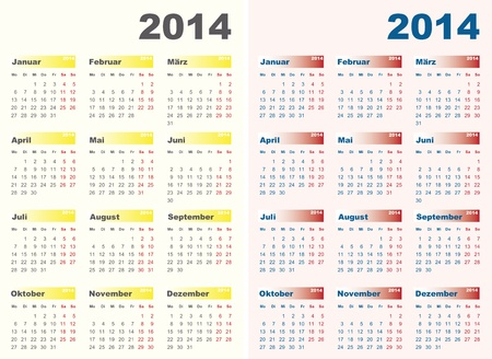 Vector illustration of 2014 calendars in German. Monday to Sunday. Vector