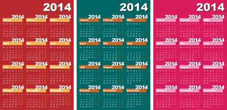 Vector illustration of 2014 calendars in German.  Vector