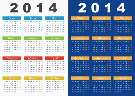 yearly: Ilustraci�n vectorial de 2014 calendarios en turco