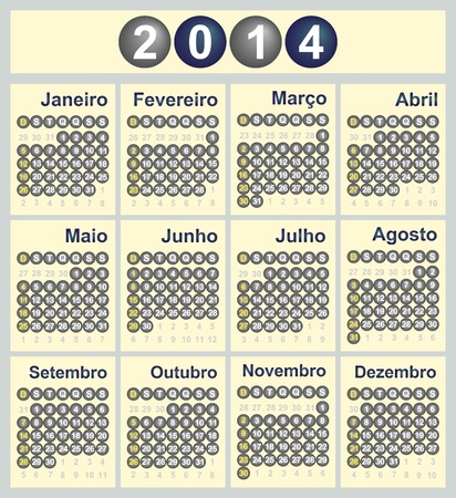 Vector illustration of 2014 Calendar in Portuguese Vector