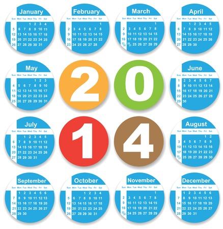 Annual calendar design for 2014.  Vector