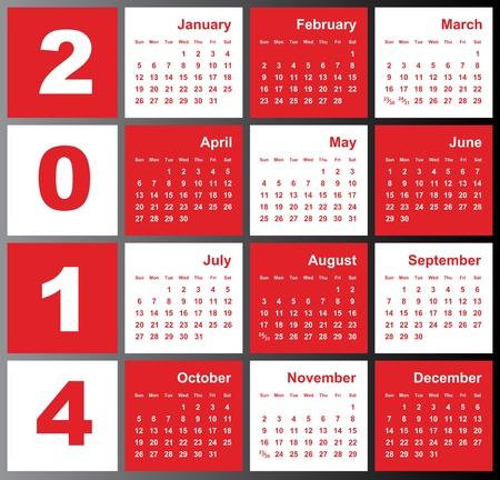 Annual calendar design for 2014  English, Eps10, Sunday to Saturday