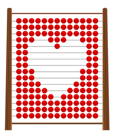 Illustration of an abacus in heart shape