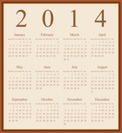 Annual calendar design for 2014. English,  Sunday to Saturday. Illustration