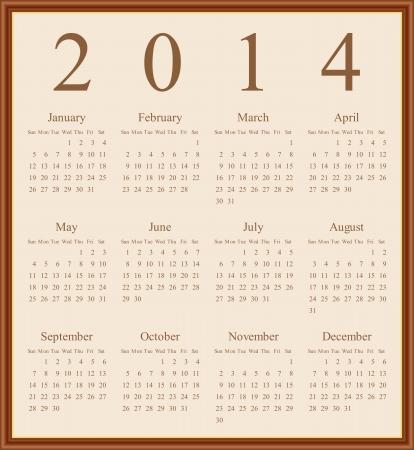 Annual calendar design for 2014. English,  Sunday to Saturday. Illustration