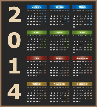 Annual calendar design for 2014. English,  Monday to Sunday.