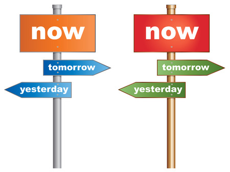 yesterday: Now yesterday tomorrow  Conceptual signboard about time management
