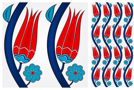 tulips: Illustration of a seamless Turkish tile