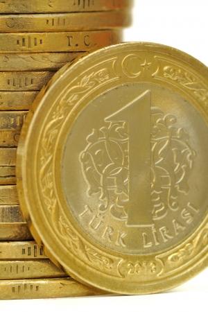 turkish lira: One Turkish Lira Coin isolated on white