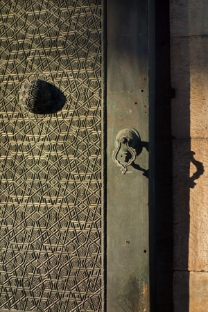 Architectural detail of an old Turkish door  Fatih Mosque in Istanbul, Turkey