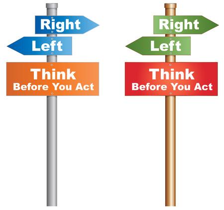 behaviours: Piensa antes de actuar en un momento decisivo letrero conceptual acerca de los comportamientos humanos Vector, EPS10 Vectores
