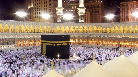 Mecca, Saudi Arabia - February 6, 2008  Muslim pilgrims, from all around the World, revolving around the Kaaba at night  Editorial