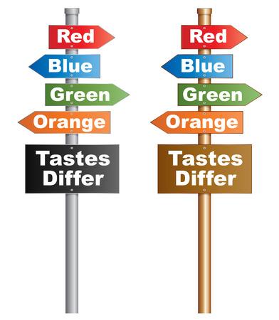 verschillen: Smaken verschillen Illustratie van een conceptueel uithangbord over persoonlijke keuzes EPS10 vector