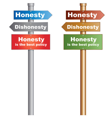 honesty: Honesty or Dishonesty  Honesty is the best policy  Illustration of  a conceptual signboard about peoples choices  EPS10 vector