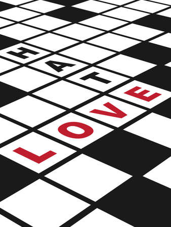 hate: Love and Hate  Illustration of  a conceptual crossword puzzle about love  Vertical EPS10 vector